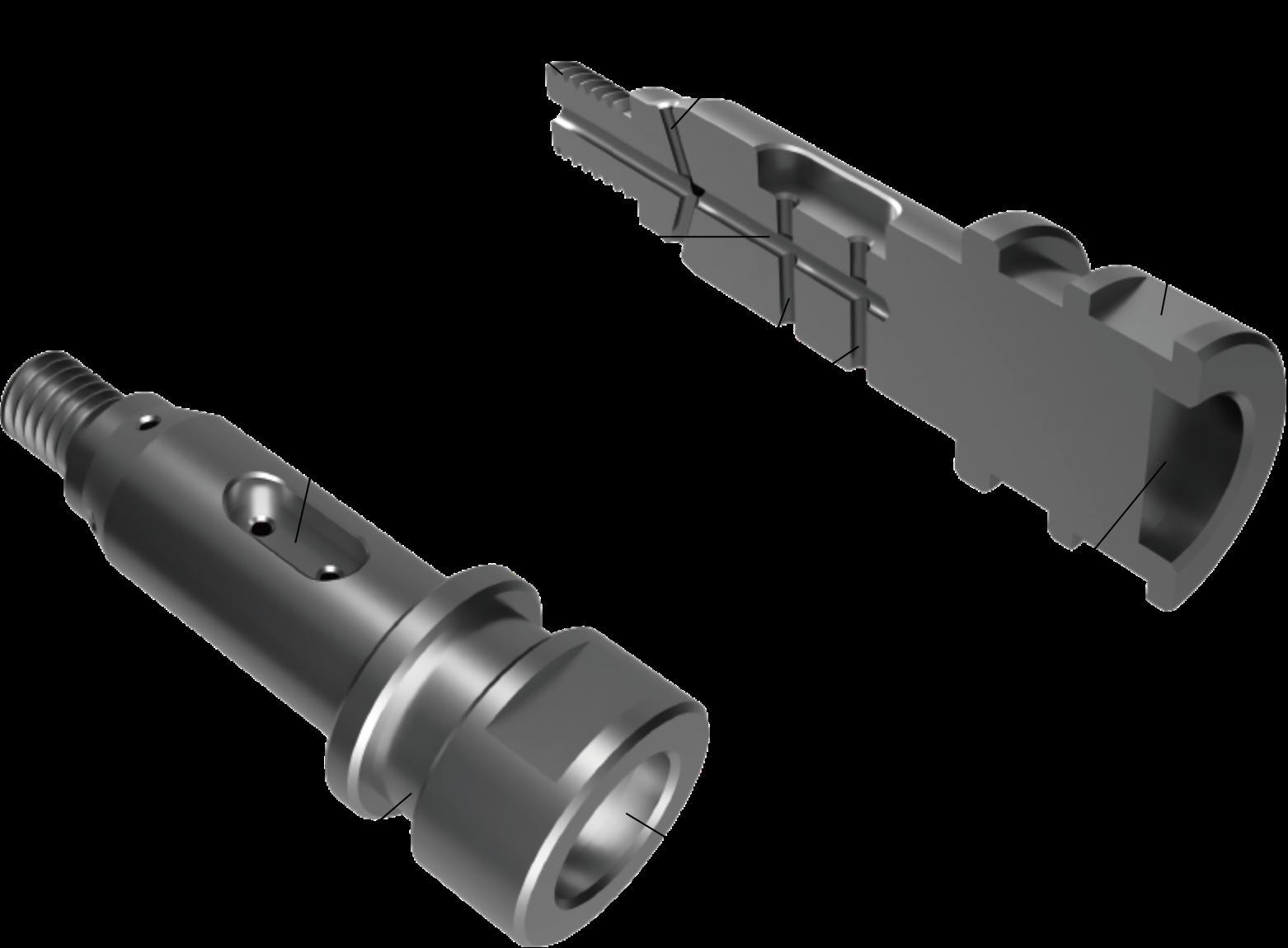 材料の回転を止め、回転工具にエンドミルをつけてキー溝加工を行います。 1チャックで行うので、精度よく仕上げることができます。